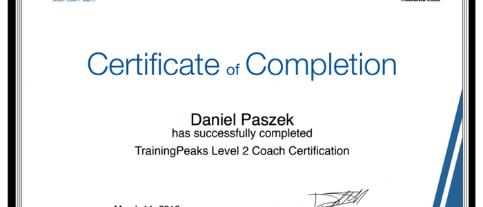 TRAINING PEAKS CERTIFIED COACH LEVEL 2 !